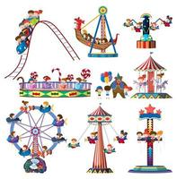 A set of theme park rides vector