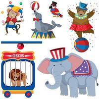 Un ensemble d'animaux de cirque