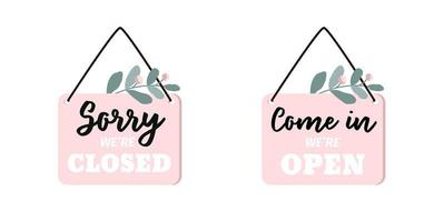 Set of Two Signs Sorry We're Closed vector