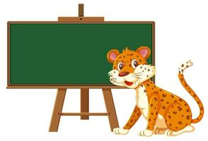 A leopard and blackboard banner