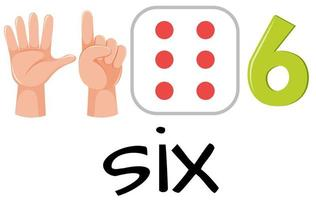 Number six with images vector