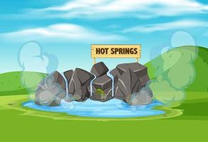 A hot springs in nature vector