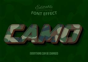 Camo text, editable text effect vector