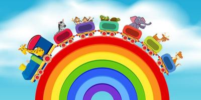 Animals on the train rainbow road vector