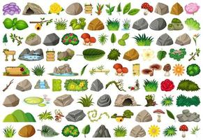 Set of isolated nature objects  vector