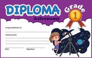 Modelo de certificado de diploma de astronomia