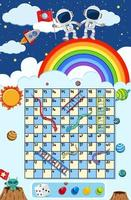 A snake ladder game space theme vector