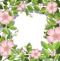 Fronteira de flores e folhas vetor