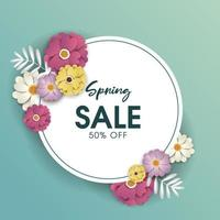 Round Banner with Spring sale design vector