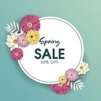 Banner tondo con disegno di vendita di primavera