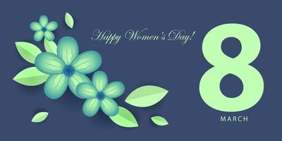 Blue Floral Happy Women's Day Banner vector