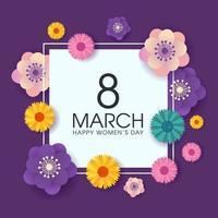 Vrouwendag wenskaart met vierkant frame en bloemen