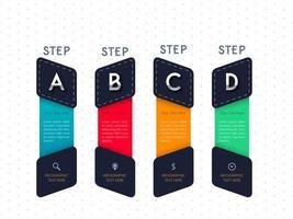 Infographic fyra steg bokstäver malldesign