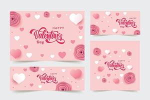 Set of Valentine's day Banner with Flowers and Hearts