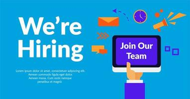 We are hiring with hand holding tablet vector