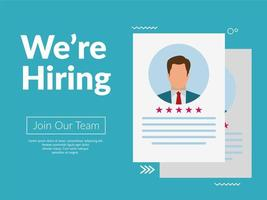 ''We're hiring'' on blue background vector