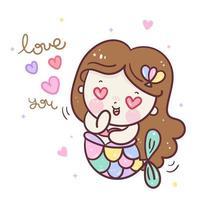 Cute mermaid vector girl cartoon Kawaii character