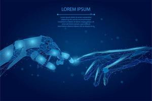Low poly wireframe human and robot hands touching with fingers vector