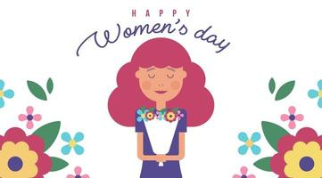 Women's Day Illustration with Girl and Flowers