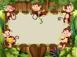 Frame design with monkeys in the woods vector