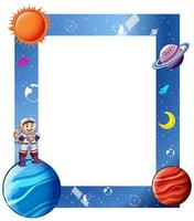 Border with astronaut and solar system frame vector