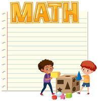 A math note template vector