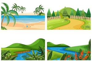 A set of outdoor scene including river vector