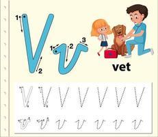 Fogli di lavoro di alfabeto di tracciamento della lettera V.