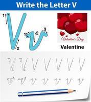 Planilhas de alfabeto de rastreamento de letra V vetor