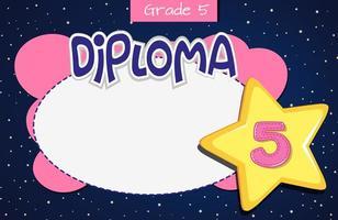 Plantilla de certificado de diploma de grado 5 vector