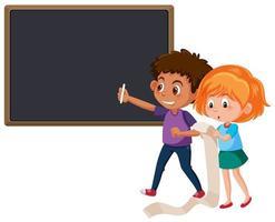 Boy and girl writing the chalkboard vector
