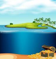 Una isla y un tesoro submarino vector