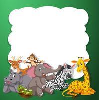 Söta djur på grön mall