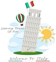 Welcome to Italy with leaning tower of Pisa vector
