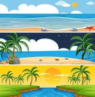 Conjunto de paisagem de praia verão