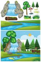 Paisaje natural de cascada con árboles vector
