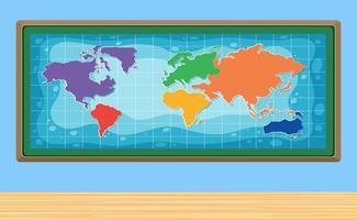 Um mapa do mundo no quadro vetor