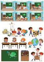 Set of kids in classroom