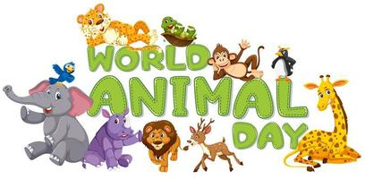 World animal day template vector