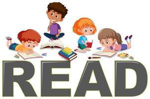 Group of children reading vector