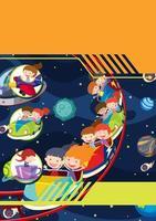 Een sjabloon met kinderen ruimtethema