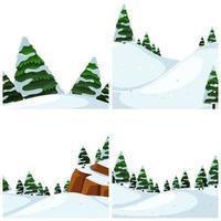 Conjunto de cenas de neve vetor