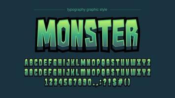Grüne Comics künstlerische Schriftart vektor