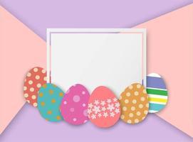 Huevos de Pascua en marco cuadrado