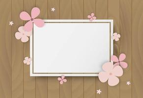 Pink flowers on wooden frame vector