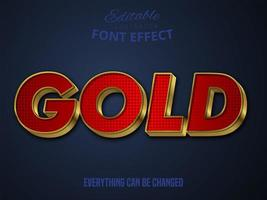 Gold text, editable font effect vector