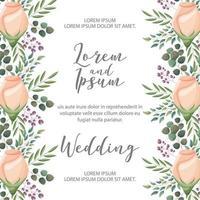 tarjeta de boda de flores vector