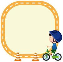 Boy riding bicycle on note template vector