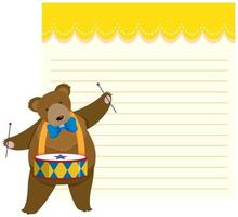 Circus bear on note template