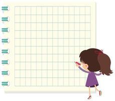 Meisje dat op notasjabloon schrijft